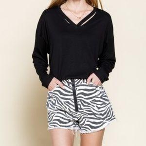 mittoshop Shorts - Zebra Frayed Hem Shorts